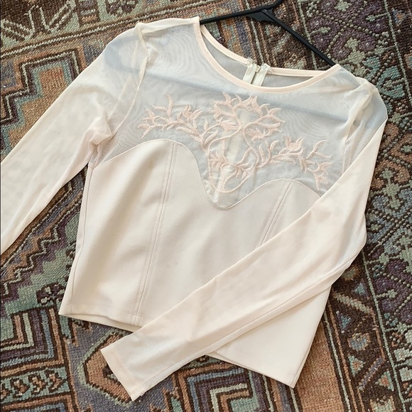 Free People Tops - Lacy floral embroidered chest mesh long sleeve top